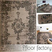 Moderner Teppich Vintage taupe 160x230 cm - günstiger Velours Teppich im angesagten Shabby Chic