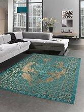 Moderner Teppich Wohnzimmerteppich Kelim Orient türkis gold Größe 80x150 cm