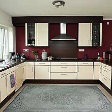 Moderner Vintage Teppich mit rutschfestem Rücken, Rokoko Design in Grau, sehr pflegeleicht und waschbar, hochwertige Verarbeitung und Kelim Oberfläche (80cm x 150cm)