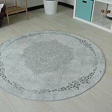 Moderner Vintage Teppich mit rutschfestem Rücken, Rokoko Design in Grau, sehr pflegeleicht und waschbar, hochwertige Verarbeitung und Kelim Oberfläche Rund und Oval (Rund 120cm x 120cm)