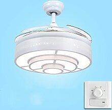 Moderner weißer Wohnzimmer-unsichtbarer Ventilator beleuchtet mit LED-Ventilator-Leuchter-Haus Einfacher Restaurant-Deckenventilator beleuchtet moderne Art und Weise Dreischicht starker heller Rahmen 42-Zoll, 32W, Vierfarblicht Deckenventilatoren mit Beleuchtung