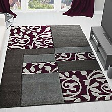 Moderner Wohnzimmer Teppich Design mit Blumenmuster Kariert, Konturenschnitt in Grau Lila - ÖKO Tex Zertifiziert, VIMODA; Maße: 80x150 cm