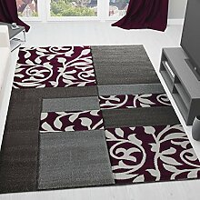 Moderner Wohnzimmer Teppich Design mit Blumenmuster Kariert, Konturenschnitt in Grau Lila - ÖKO Tex Zertifiziert, VIMODA; Maße: 200x290 cm