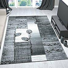 Moderner Wohnzimmer Teppich Grau Schwarz Creme mit