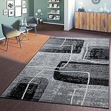 Moderner Wohnzimmer Teppich Hochwertig 3D Retro Vintage Anthrazit Creme Grau, Größe:80x150 cm