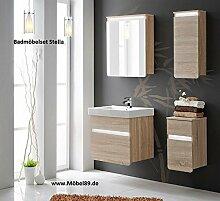"""Modernes Badmöbel-Set """"Stella"""" in Top Qualität mit LED Beleuchtung. Komplettset besteht aus Spiegel-Schrank, 2 Hänge-Schränke & Unterschrank sowie Waschbecken 60cm. Stabiles MDF-Holz Badezimmer-Möbel"""
