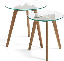 Modernes Beistelltisch Set mit Klarglasplatte und
