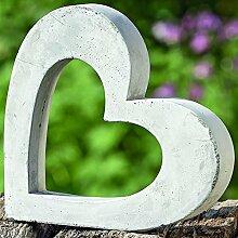 Modernes Deko Objekt Herz Ellie aus Beton grau Figur H24cm Dekoration Accessoires zum dekorieren Gartendeko