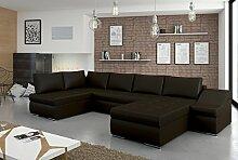 """Modernes Eck-Sofa """"Giovanni"""" mit Bett-Funktion und Bettkasten. Couch mit robustem Kunstleder-Bezug und komfortabler Wellenunterfederung. Zeitlose Wohnlandschaft. (Ottomane spiegelverkehrt, Farbänderung 99€)"""