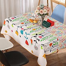 Modernes Einfaches Tischtuch Familien-tisch Tuch Pflanze Blumen Leinen Tischdecke Ländliche Tischdecke Kaffee Tischdecke-tuch Waschbar-A 120x120cm(47x47inch)