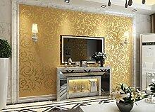 Modernes Extra dicker Vlies europäischen modernen minimalistischen Country Luxus Tapete, Rolle für Wohnzimmer Schlafzimmer TV Hintergrund Wand 0,53m (52,8cm) * 10Mio. (32,8') M = 5.3sqm (M³), Only the wallpaper, Golden non-woven material
