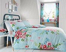 Modernes Fresh Floral Alice Luxuriös Print Bettbezug Bettwäsche & 2Kissenbezüge Bett-Set, alle Größen erhältlich, hellblau, King Size