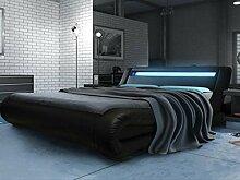 Modernes italienisches Designer-Bett, doppelt gepolstert in Kunstleder, 1,40Rio LED schwarz