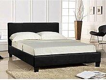 Modernes italienisches Designer-Kunstleder-Bett Pavia/Prado, Bett mit Luxus-Memoryschaum-Matratze, braun, 5FT-King