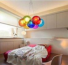 Modernes LED-Glas Pendelleuchte Dekoration Schlafzimmer Wohnzimmer Farbe Leuchten Licht leuchten, 7 Köpfe Color Random Weihnachten Thanksgiving Geburtstag Silvester Geschenk
