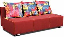 Modernes Schlaf-Sofa für 2 Personen inkl. Kissen. 2-Sitzer Polster-Couch in hochwertiger Verarbeitung mit Bett-Funktion. Federkern-Garnitur für Wohnzimmer, Kinderzimmer und mehr. Farbe: Ro