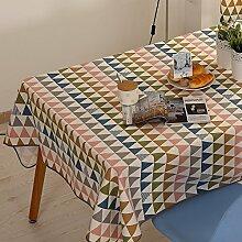 Modernes Tischtuch Familien-tisch Tuch Baumwoll-leinwand Tischdecke Geometrische Muster Tuch Tee Tischdecke-A 120x120cm(47x47inch)