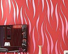Modernes und einfaches Vliestapete Beflockung stereoskopisches 3D geprägter Tapeten Schlafzimmer Wohnzimmer TV Hintergrund Wand Tapete, Only the wallpaper, Chinese Red-077