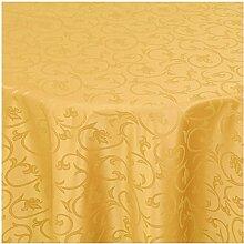 """Moderno Barock Tischdecke oval 160x280 cm im Damast Stil Farbe """"Dunkel-Gelb"""