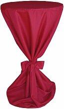 MODERNO blickdichte Stehtisch Husse Stehtisch-Husse Mikrofaser mit Band für die Schleife Premium Qualität in Rot 90 cm Durchmesser