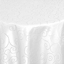 """Moderno Ornamente Tischdecke rund 220 cm im Damast Stil Farbe """"Weiss"""