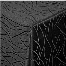"""Moderno Streifen Tischdecke eckig 130x280 cm im Damast Stil Farbe """"Schwarz"""