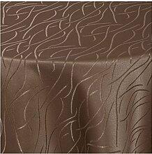 """Moderno Streifen Tischdecke oval 160x280 cm im Damast Stil Farbe """"Dunkel-Braun"""