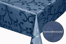 Moderno Textil Tischdecke Milano Design Wasserabweisend mit Fleck-Schutz Lotus-Effekt, eckig 160x320 cm Dunkel-Blau Damas