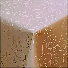 MODERNO Tischdecke Damast mit Saum im Ornamentedesign - Eckig Oval und Rund in Premiumqualität- Größe und Farbe Wählbar Oval 160x220 cm in Hellbraun
