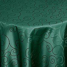 Moderno® Tischdecke Tischtuch Damast Ornamente mit Saum, Eckig Oval Rund Größe und Farbe wählen oval 160x280 cm in Dunkel-Grün - Premium Qualität mit umgenähtem Rand und Öko Tex Zertifika