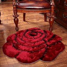 Modische dreidimensionale Rose Teppich, Schlafzimmer Bett runden Teppich, Computer Stuhl Teppich ( Farbe : Dunkelrot , größe : 101*101cm )