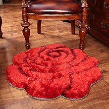 Modische dreidimensionale Rose Teppich, Schlafzimmer Bett runden Teppich, Computer Stuhl Teppich ( Farbe : Rot , größe : 101*101cm )