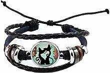 Modisches Armband aus Glas mit Cabochon-Katze für