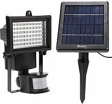 Modrine 60 LEDs Strahler Solar Fluter Außenleuchte Flutlicht Solarleuchte mit Bewegungsmelder Wasserdicht Aluminiumkörper Schwarz, Einstellbare Verzögerungszeit und Helligkeit und Sensorbereich