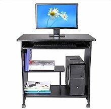 Modrine Computertisch Beweglicher PC Tisch Schreibtisch mit Keyboardständer und Rolle für Hause und Bürosarbeit (Schwarz)