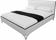 Modular dal140.32.KL Bett, Lederimitat, weiß / schwarz, 212 x 150 x 97,5 cm