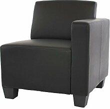 Modular Seitenteil rechts, Sessel mit Armlehne Lyon, Kunstleder ~ schwarz
