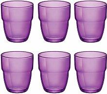 Modulo stapelbare Wasser/Saft Gläser Becher - 305 ml - Lila - 6er-Se