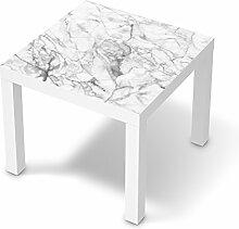 Möbel-Aufkleber Folie für IKEA Lack Tisch 55x55 cm | Dekorationssticker Dekorfolien Möbel-Folie | Wohnung einrichten Accessoires | Design Motiv Marmor weiß