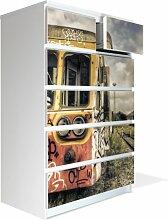 Möbel Aufkleber für IKEA Malm Kommode 80x123cm mit Motiv: Endstation