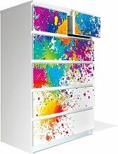 Möbel Aufkleber für IKEA Malm Kommode 80x123cm mit Motiv: Farbspritzer