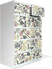 Möbel Aufkleber für IKEA Malm Kommode 80x123cm mit Motiv: Florale Tapete