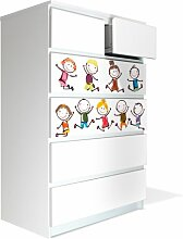 Möbel Aufkleber für IKEA Malm Kommode 80x123cm mit Motiv: Happy Kids