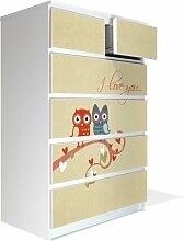 Möbel Aufkleber für IKEA Malm Kommode 80x123cm mit Motiv: I Love You
