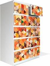 Möbel Aufkleber für IKEA Malm Kommode 80x123cm mit Motiv: Kaleidoskop