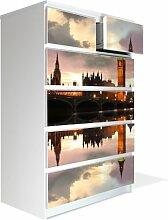 Möbel Aufkleber für IKEA Malm Kommode 80x123cm mit Motiv: London