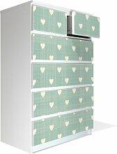Möbel Aufkleber für IKEA Malm Kommode 80x123cm mit Motiv: Muster Herzen
