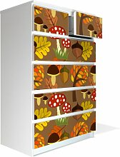 Möbel Aufkleber für IKEA Malm Kommode 80x123cm mit Motiv: Muster Herbs
