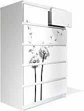 Möbel Aufkleber für IKEA Malm Kommode 80x123cm mit Motiv: Pusteblume 2