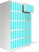 Möbel Aufkleber für IKEA Malm Kommode 80x123cm mit Motiv: Streifen Türkis